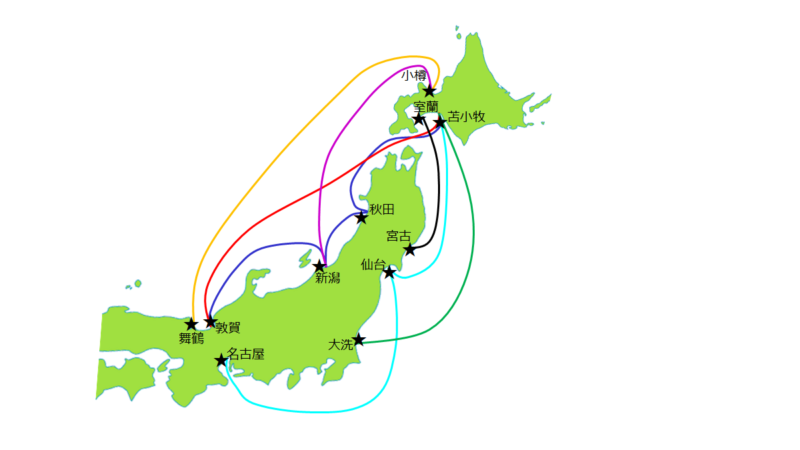長距離フェリーで北海道に上陸するルート