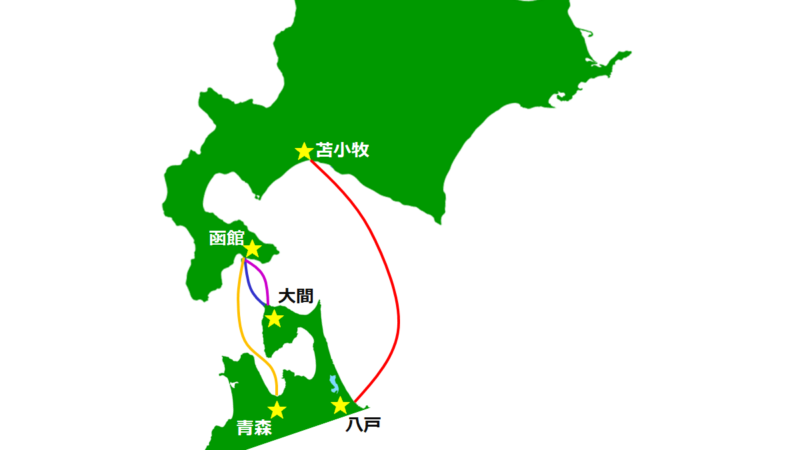 青森から北海道に上陸するルート