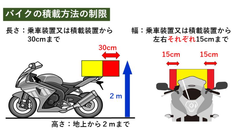 バイクの積載方法の制限