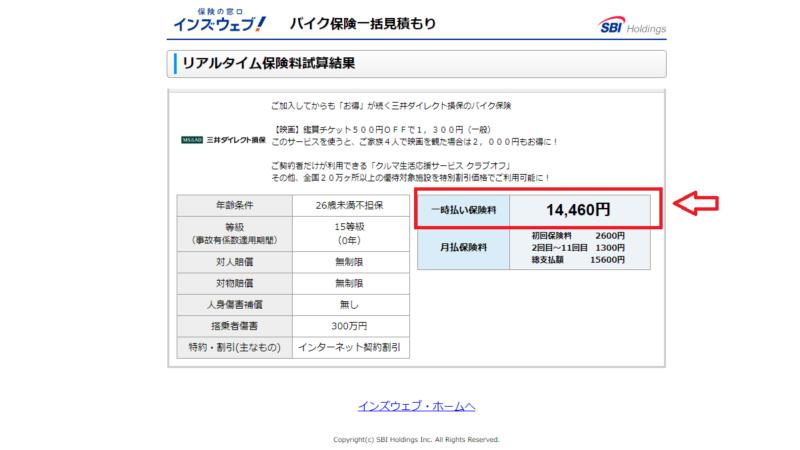 バイク保険一括見積サービスの結果(三井ダイレクト)