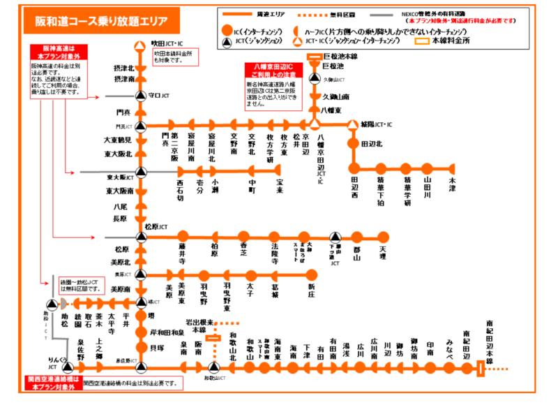 ⑭阪和道コース:2日間 乗り放題2,500円